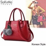 SoKaNo Trendz SKN839 Korean Style Elegant Shoulder PU Leather Tote Bag Handbeg Wanita- Red