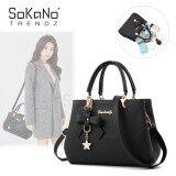 SoKaNo Trendz SKN842 Korean Style Elegant Shoulder PU Leather Top Handle Tote Bag With Butterfly Charm Handbeg Wanita- Black