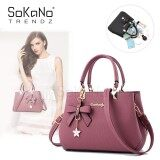 SoKaNo Trendz SKN842 Korean Style Elegant Shoulder PU Leather Top Handle Tote Bag With Butterfly Charm Handbeg Wanita- Pink