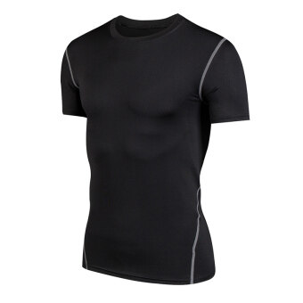 Sports men stretch running short sleeved t-shirt slim fit clothing (Black) (Black)