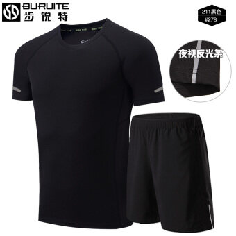 Sports suit male short-sleeved summer quick-drying running clothesfitness T-shirt loose breathable shorts five pants sports clothes(211 black + 278)