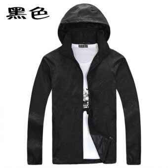 Spring and summer sun protection clothing for men and women skinclothing couple models thin Plus-sized long-sleeved sports coatcustom logo jacket (Black)
