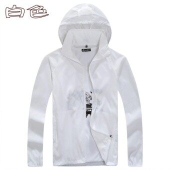 Spring and summer sun protection clothing for men and women skinclothing couple models thin Plus-sized long-sleeved sports coatcustom logo jacket (White)