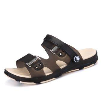 Summer Men Beach Shoes Hole Slippers Sandals Non-slip (Brown)