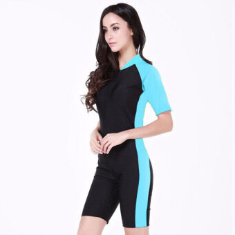 Summer Short Sleeve Swimwear One Piece Swimsuit For Women???Light Blue?????