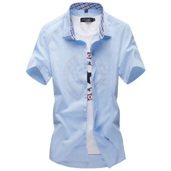 Summer short-sleeved thin section men's shirt solid colorPlus-sized young casual shirt Slim fit student inch shirt men'stide white (Sky blue color)