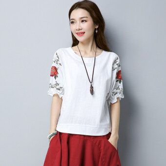 Sy national style cotton linen retro embroidered round neck short sleeved t-shirt Top (White)