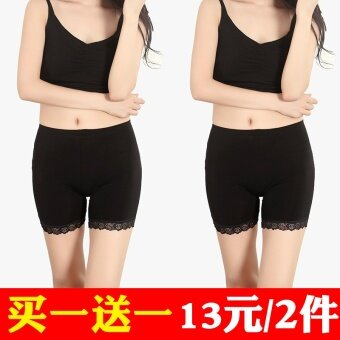 Three points modal anti-female summer shorts lace Safety pants (Black lace + black lace) (Black lace + black lace)