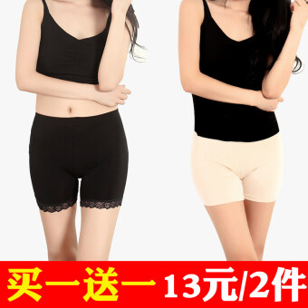 Three points modal anti-female summer shorts lace Safety pants (Black lace + skin boxer) (Black lace + skin boxer)