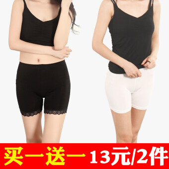 Three points modal anti-female summer shorts lace Safety pants (Black lace + White boxer) (Black lace + White boxer)