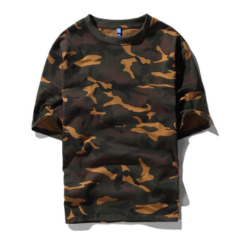 Tide brand Korean-style short-sleeved female loose T-shirt camouflage Top (Camouflage shorts short sleeve t) (Camouflage shorts short sleeve t)
