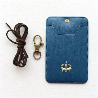 Traffic Bus card sets student access card sets monthly meal card sets with rope Korean leather work badge holder Sets (Dark blue color)