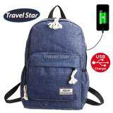 Travel Star 1261 Korean Style Premium Laptop Backpack With External Charging USB Port - Blue