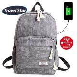Travel Star 1261 Korean Style Premium Laptop Backpack With External Charging USB Port - Grey