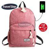 Travel Star 1261 Korean Style Premium Laptop Backpack With External Charging USB Port - Red
