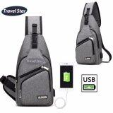 Travel Star 1317 Korean Style Premium Shoulder Bag With External Charging USB Port- Grey