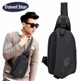 Travel Star 1972 Korean Style Premium Shoulder Bag With Earphone Cable Entry - Black