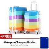 Travel Star TS020 Ultralight Weight Luggage Bagasi 2 in1 Set 20 Inch+24 Blue Rainbow
