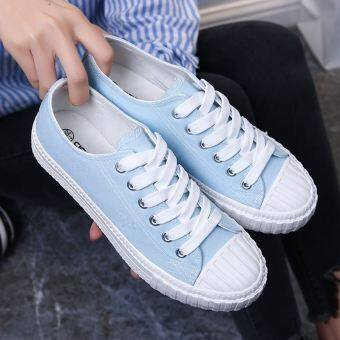 Ulzzang Korean-style New style flat white shoes versatile canvas shoes (Network red paragraph-light blue)