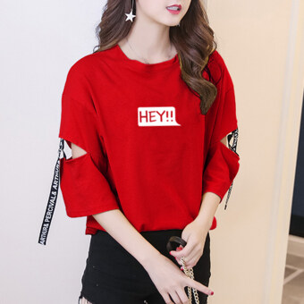 Ulzzang Korean-style student style lettered Top (Red) (Red)