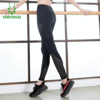 VANSYDICAL Women Splicing Leggings High Elasticity Breathable Workout Fitness Yoga Pants Hollow Out Leggings