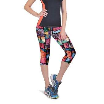 Women Capri Leggings High Waist Floral Printing Cropped Yoga Pants Fitness Workout Casual Trousers