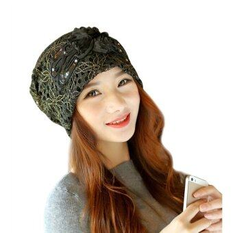 Women Lady Girls Winter Autumn Lace Flower Turban Hat Cap HairCover(Black)