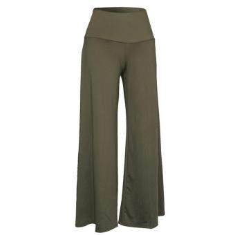Women Lady Trousers Palazzo Stretch Wide Leg High Waist Long LooseCasual Pants Arm Green