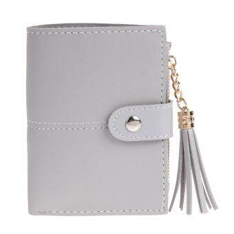 Women PU Leather Button Tassel Short Wallet Card Coin Holder Clutch Purse(Grey)