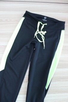 Women slim fit ankle-length pants stretch fitness pants (Yellow) (Yellow)