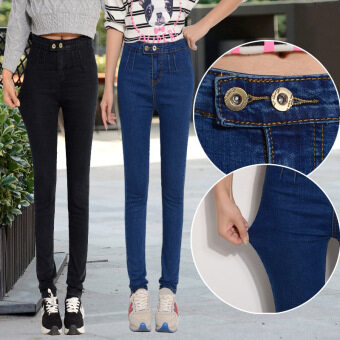Women stretch slimming skinny pants high-waisted denim pants (Dark blue color)