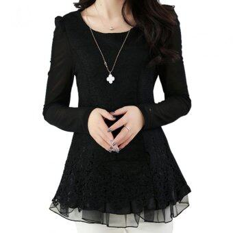 Women's Floral Chiffon Tops Long Sleeve Lace Crochet Shirt Casual Blouse (Black)