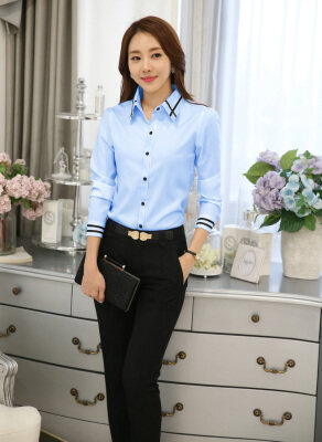 Women's Long Sleeves Blue Blouse with Black Stripes Detail