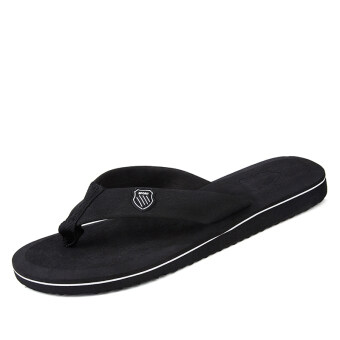 Word drag men's summer wood sandals shoes men slip with flat flipsandals men sandals home men care shoes (Black)