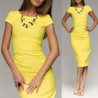 ZANZEA Summer Women Elegant Work Dress Short Sleeve O Neck Zipper Casual Knee Length Bodycon Package Hip Dress Vestidos (Yellow)