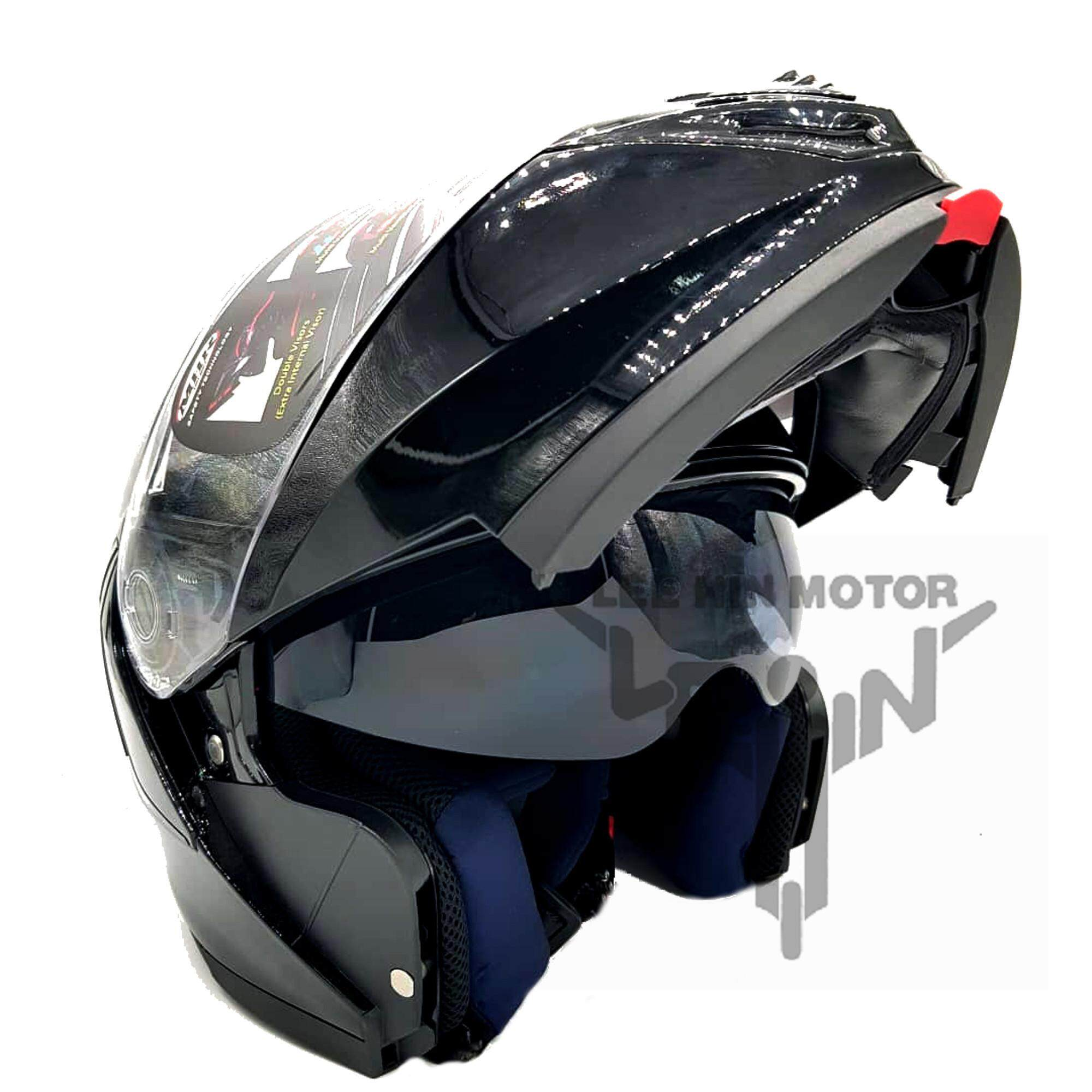 Original MHR FU329 Full Face Double Visor Flip Up Helmet ( Black )