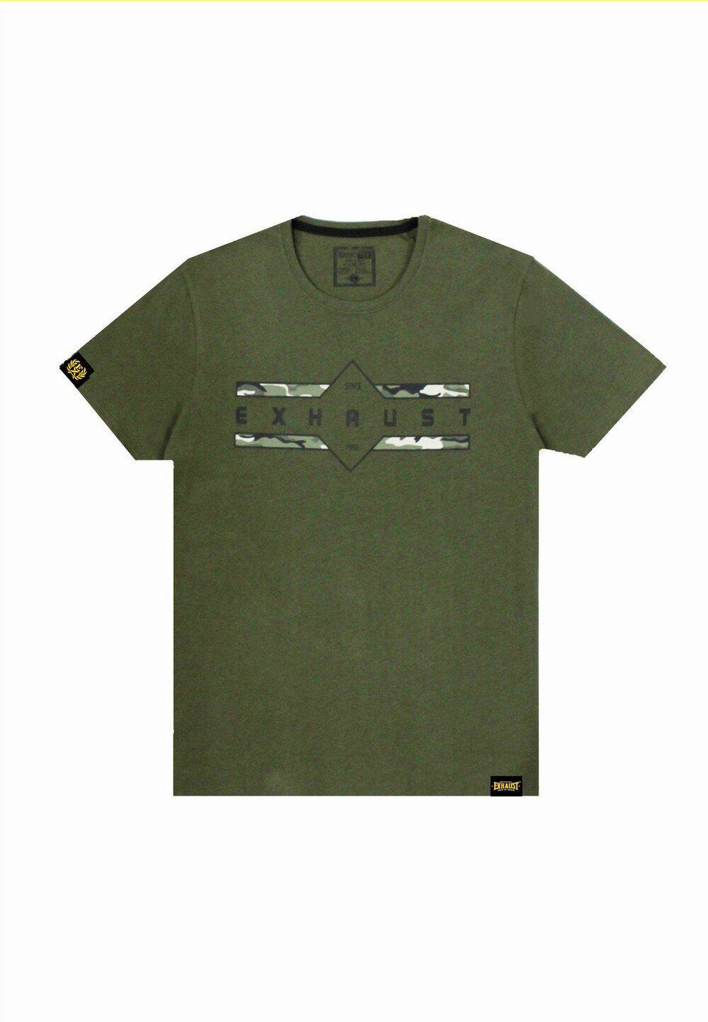 Exhaust Camouflage Print Army Tee 735