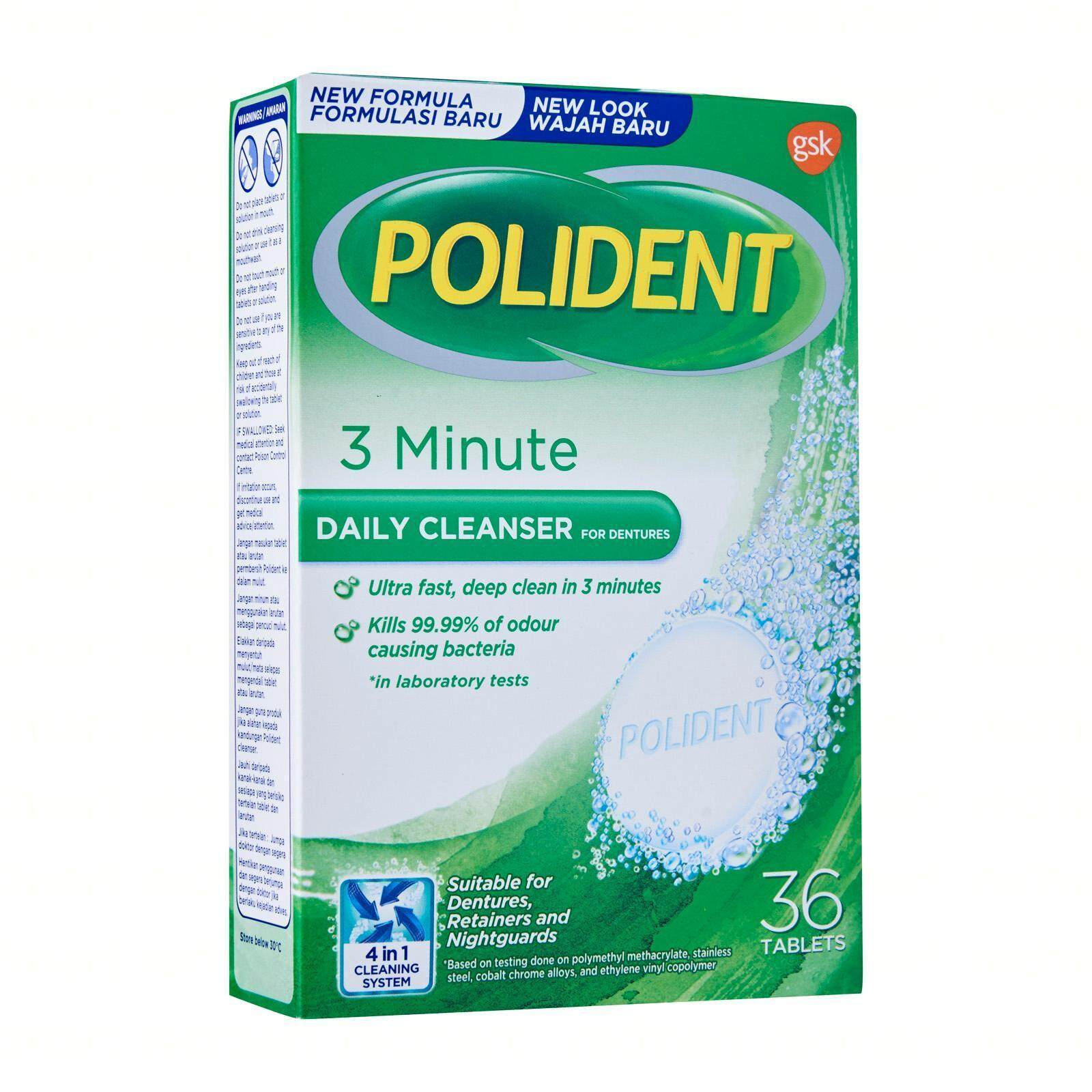 Polident 3 Minute Daily Cleanser 36's tablets