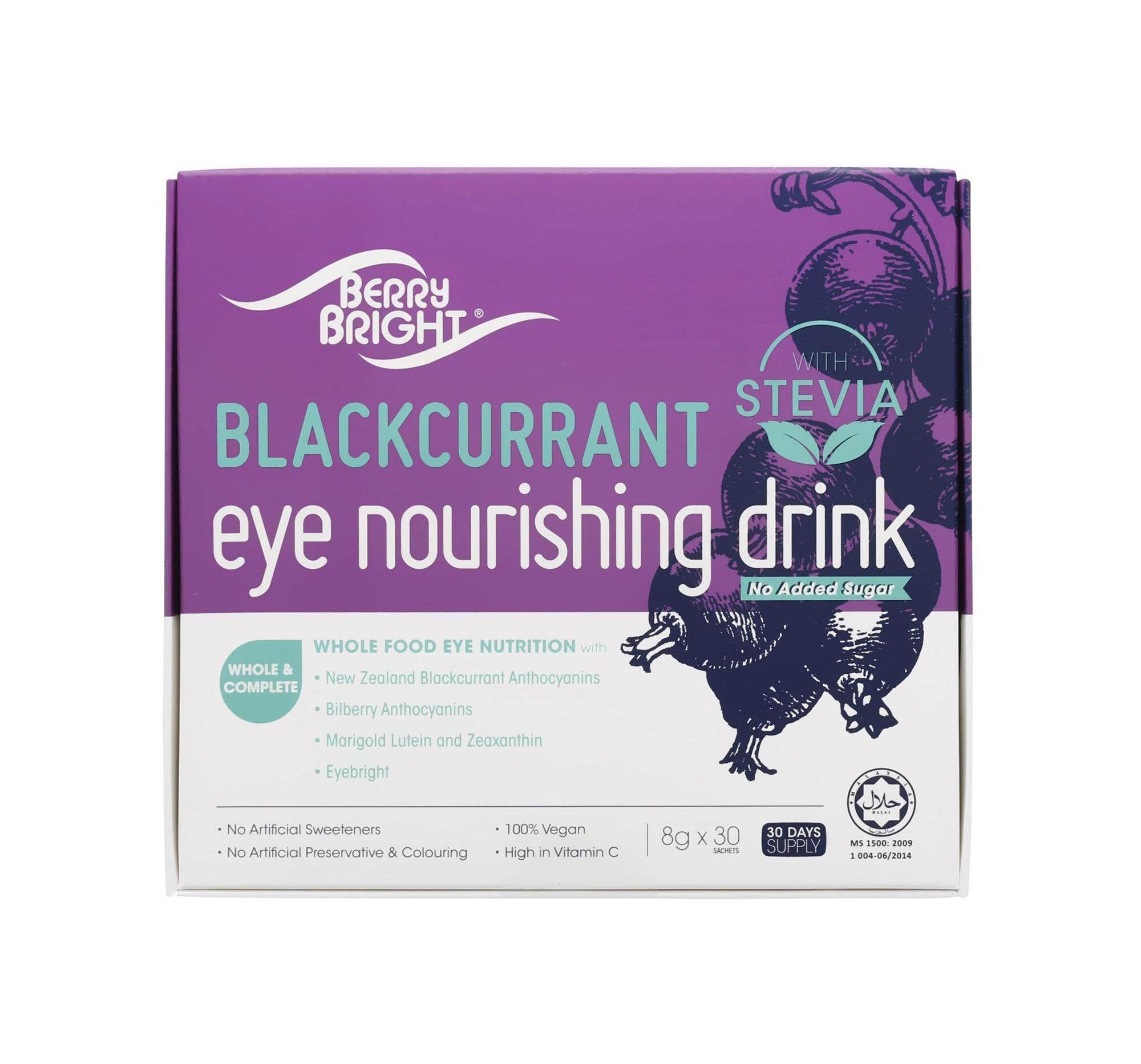 Berry Bright Eye Nourishing Drink with Stevia, 30 Sachets (30-Day Supply) Natural Healthy Vision Supplement with Lutein Zeaxanthin Anthocyanin Eyebright High Vitamin C