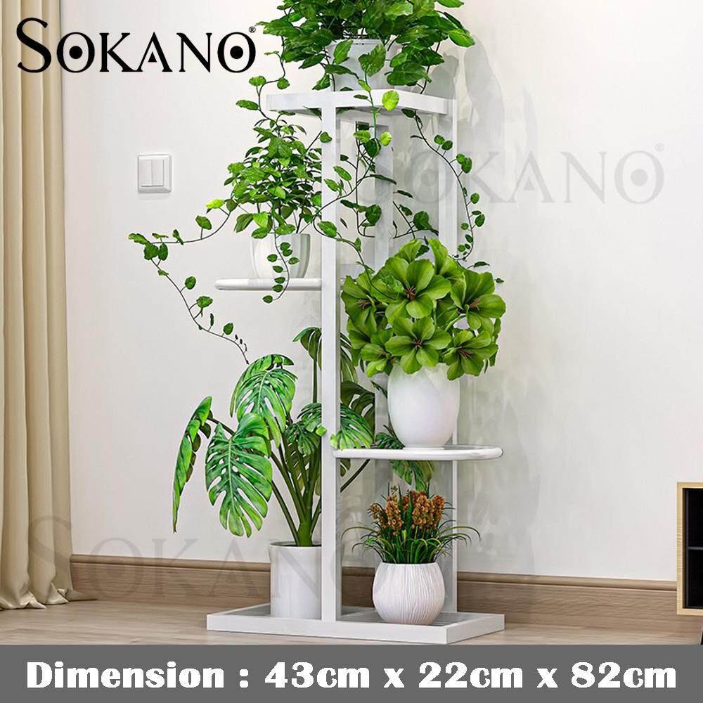 SOKANO H915 4 tiers Deco Shelf Flower Pot Rack Rak Bunga Strong Steel Structure for Living Room, AirBnB, Hotel and Office
