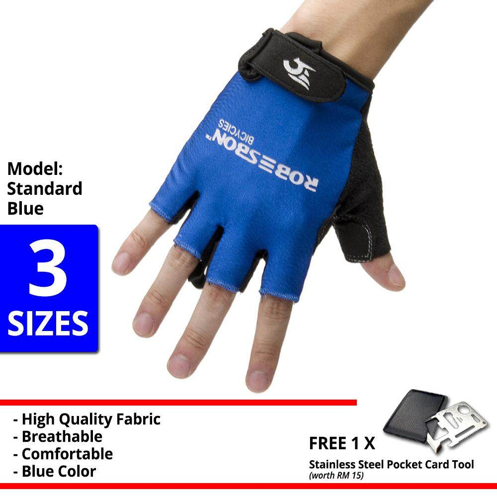 [Free Gift] ROBESBON Half Finger Cycling Glove Bike Bicycle Gloves Gym Protection High Grade Support Rubber High Quality Sport Gloves - RB0084