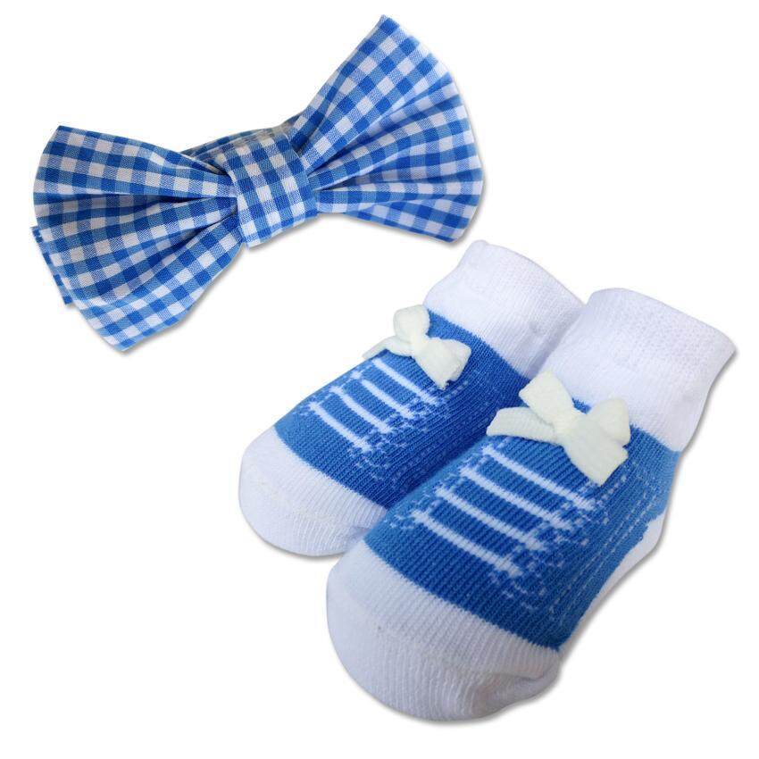 Bumble Bee Baby Bow Tie with Socks Set (Blue Checkered)