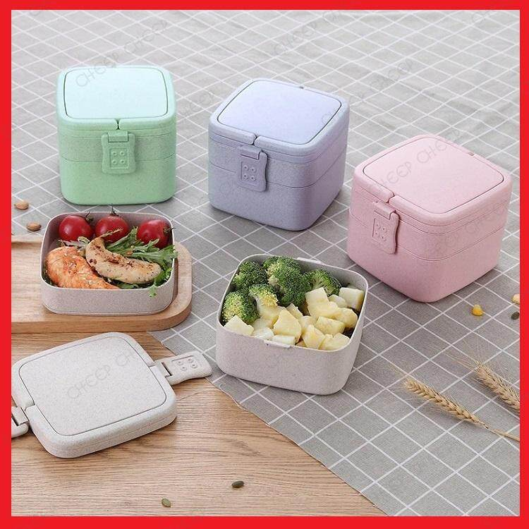 2 tier Wheat Straw Lunch Box with Spoon & Fork No Spill Japanese Version BPA-free Bento Food Container