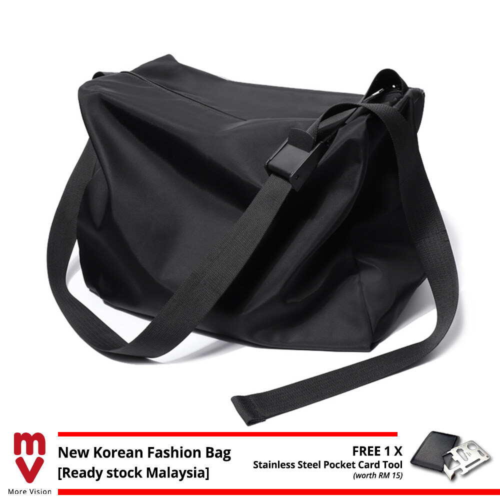 MV Bag Trendy Messenger Bag Black for Gym Travel Casual Sports Outfit Canvas Shoulder Sling Beg MI5631