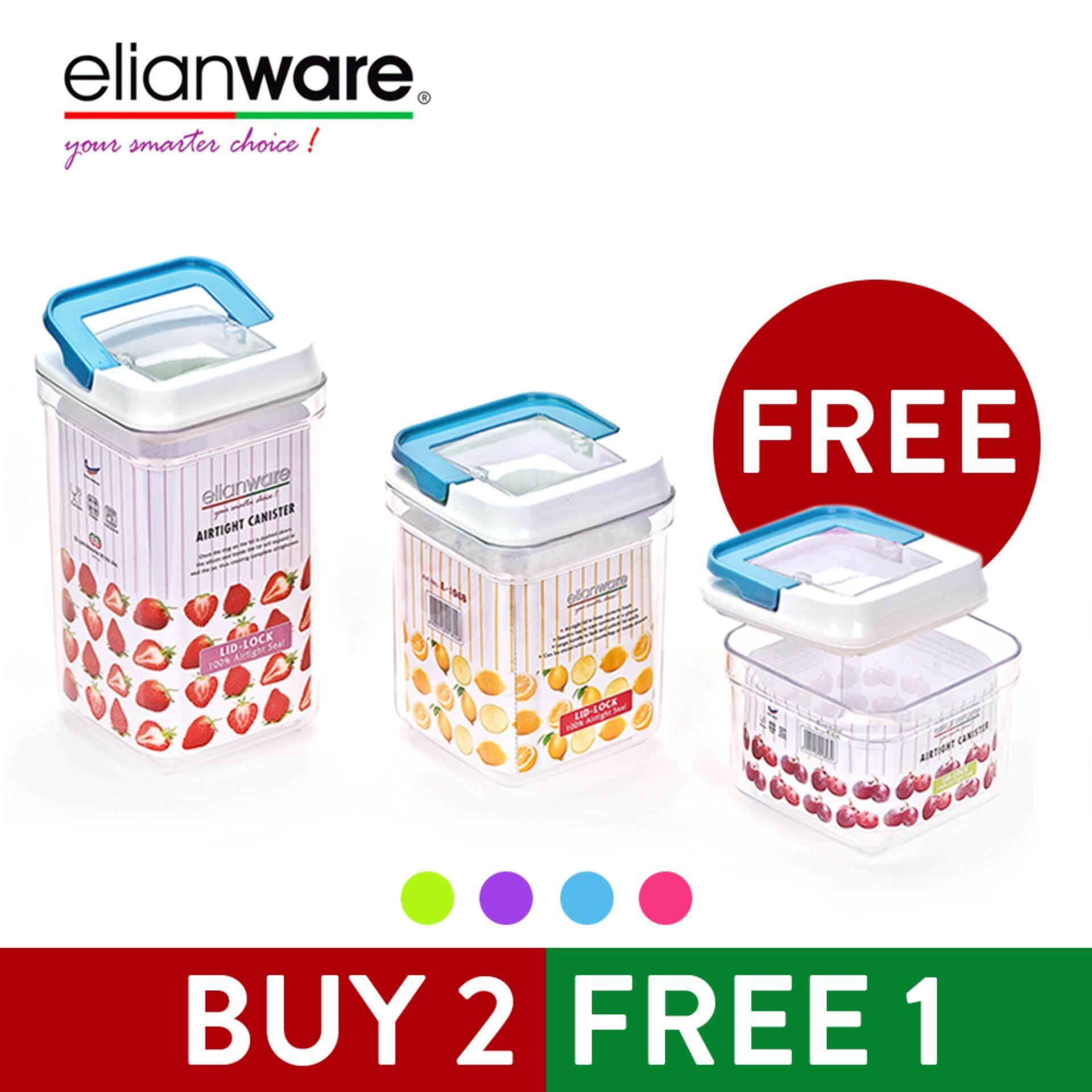 Elianware  3pcs Elegant Plastic Airtight Canister Clear Container Multipurpose Food Storage Keeper Box