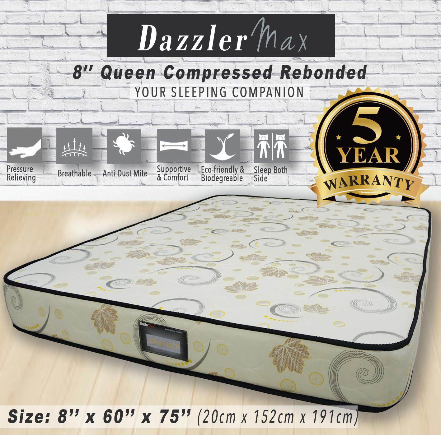 (2019) Dazzler Max 8'' High Quality Single / Queen Compressed Rebonded Mattress Bed Tilam 5 years Warranty