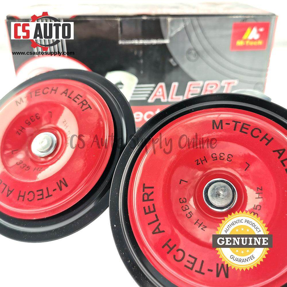 [cs auto] 2pcs x M-Tech Low High Tone Disc Electric Horn Red Black 24V 335Hz High Frequency