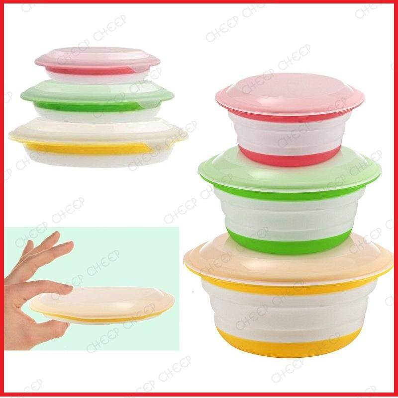 Set of 3 Collapsible Food Container with Lids Foldable Expandable Food Grade BPA-Free Silicone Space Saving Durable Storage (Multi Color)