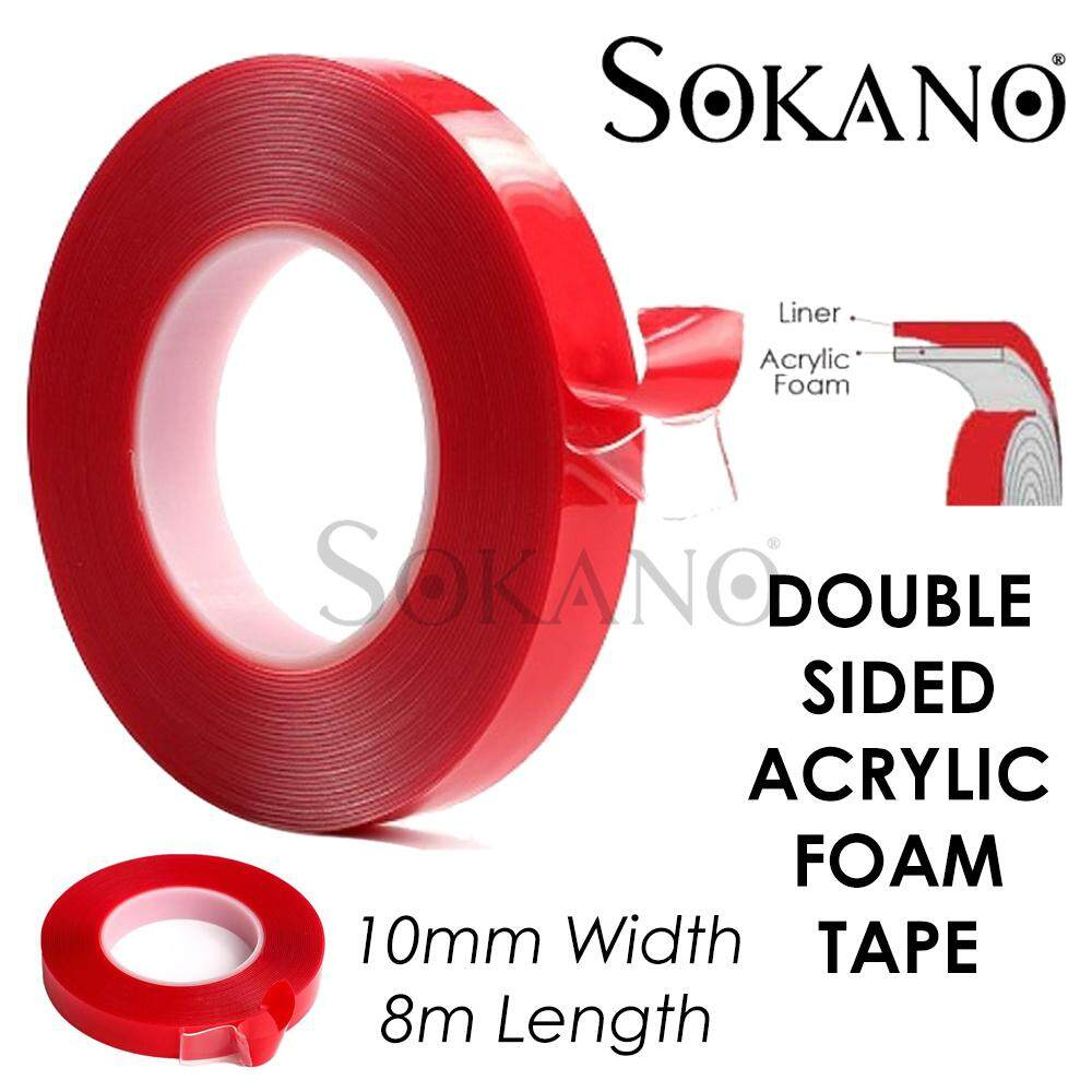 SOKANO Transparent Double Sided Acrylic Foam Tape (10MM x 8M)