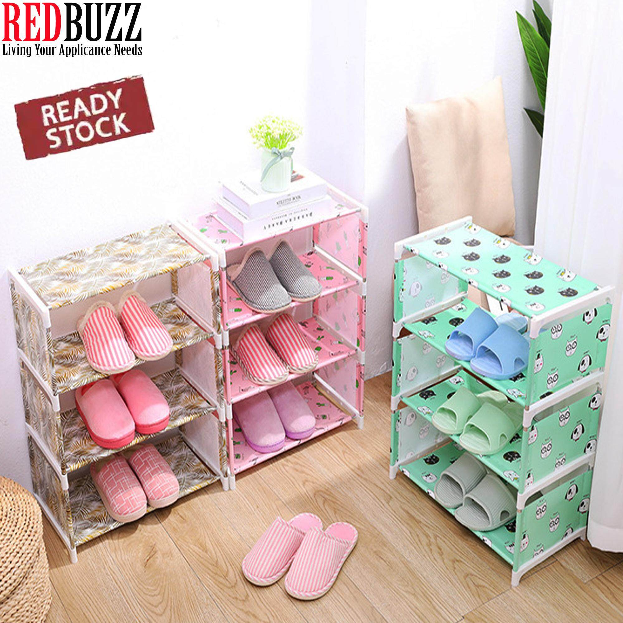 REDBUZZ Waterproof Dust Cloth Shoes Simple Shoe Rack Assembly Multi-Storey Shoes Rack